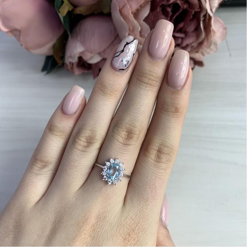 Серебряное кольцо SilverBreeze с натуральным топазом (2042969) 17.5 размер