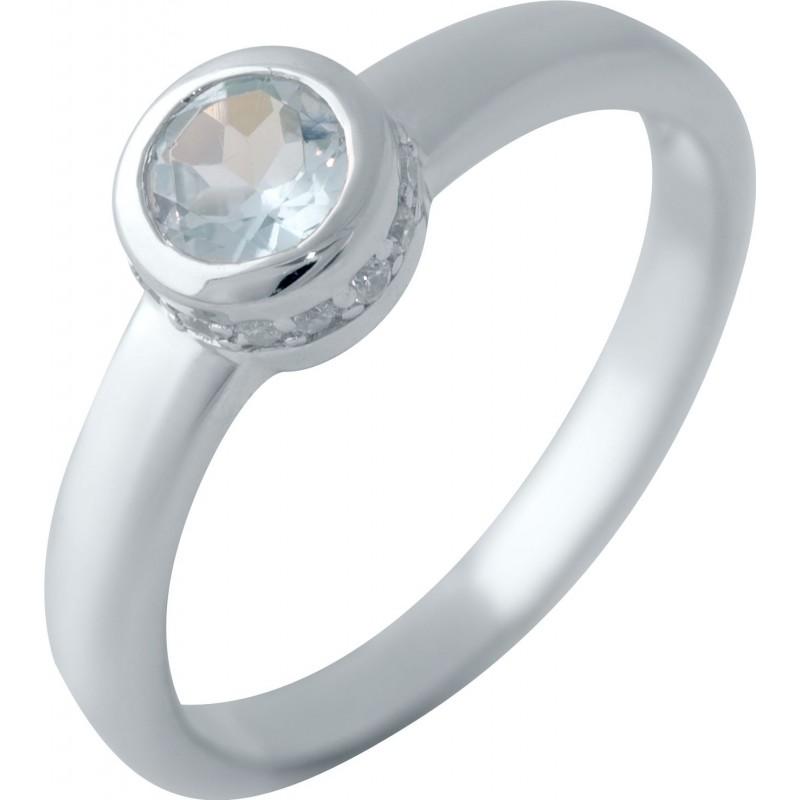 Серебряное кольцо SilverBreeze с натуральным топазом (2042938) 17 размер