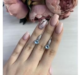 Серебряные серьги SilverBreeze с натуральным топазом (2042723)