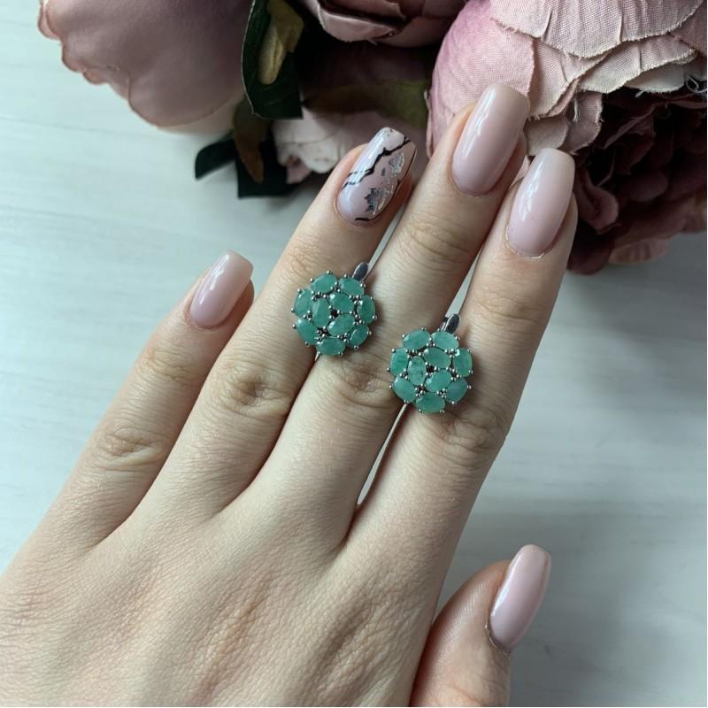 Серебряные серьги SilverBreeze с натуральным изумрудом (2042389)