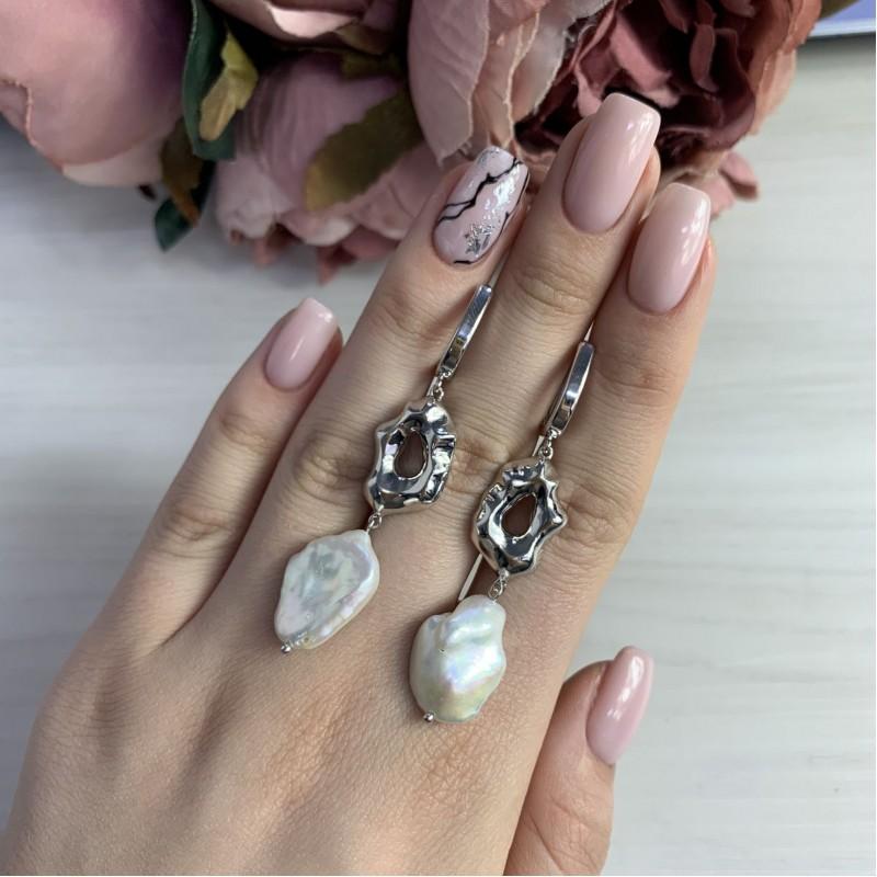 Серебряные серьги SilverBreeze с натуральным жемчугом барочным (2041894)