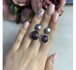Серебряные серьги SilverBreeze с кошачим глазом (2041566)
