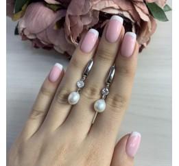 Серебряные серьги SilverBreeze с натуральным жемчугом (2041351)