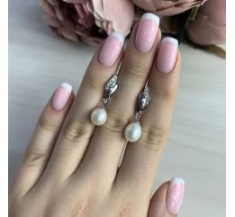 Серебряные серьги SilverBreeze с натуральным жемчугом (2041290)