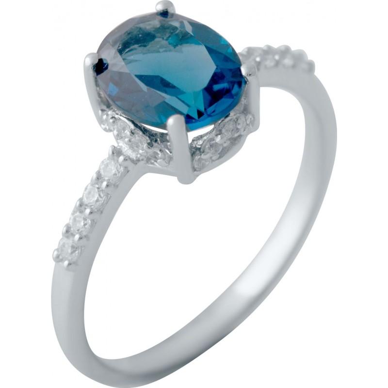 Серебряное кольцо SilverBreeze с натуральным топазом Лондон Блю (2041207) 18 размер