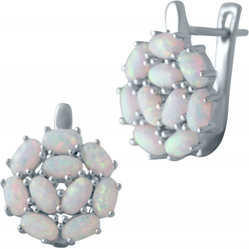 Серебряные серьги SilverBreeze с опалом (2040132)