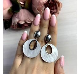 Серебряные серьги SilverBreeze с натуральным перламутром (2038801)