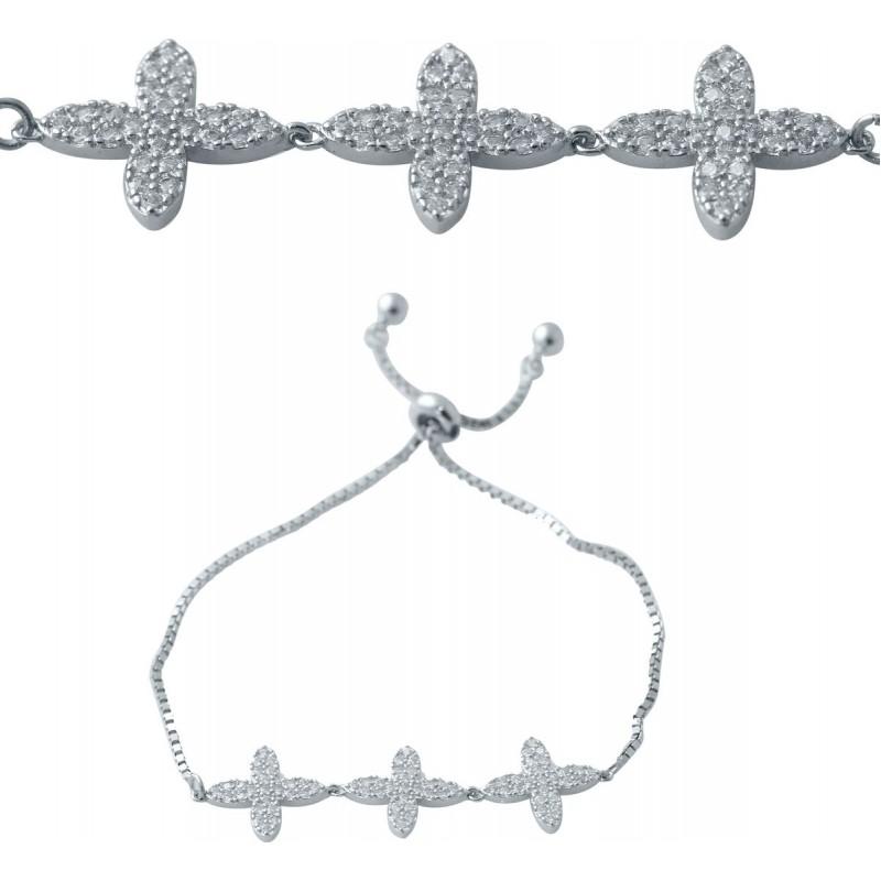 Серебряный браслет SilverBreeze с фианитами (2038382) Регулируемый размер