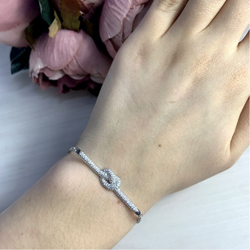 Серебряный браслет SilverBreeze с фианитами (2038320) Регулируемый размер