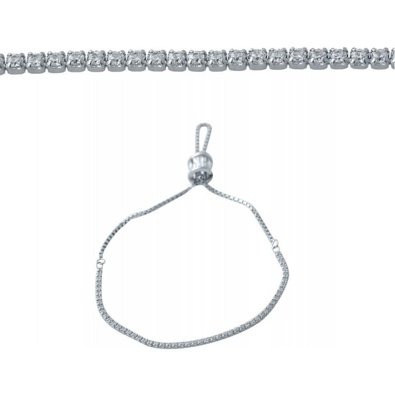 Серебряный браслет SilverBreeze с фианитами (2038283) Регулируемый размер
