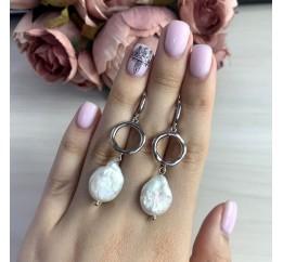 Серебряные серьги SilverBreeze с натуральным жемчугом барочным (2044673)