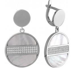 Серебряные серьги SilverBreeze с натуральным перламутром (2044635)