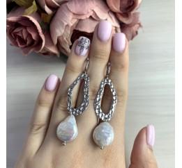Серебряные серьги SilverBreeze с натуральным жемчугом барочным (2005315)