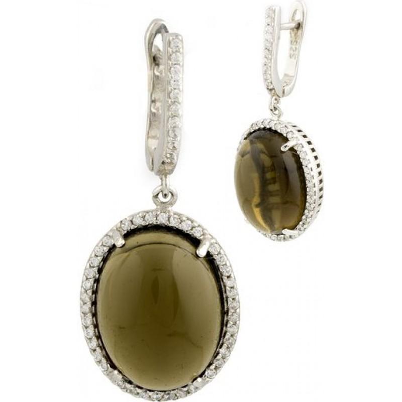 Серебряные серьги SilverBreeze с гідротермальним кварцем (0685212)