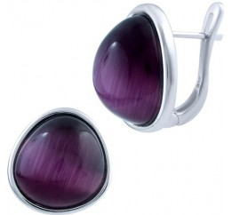 Серебряные серьги SilverBreeze с кошачим глазом (1803387)