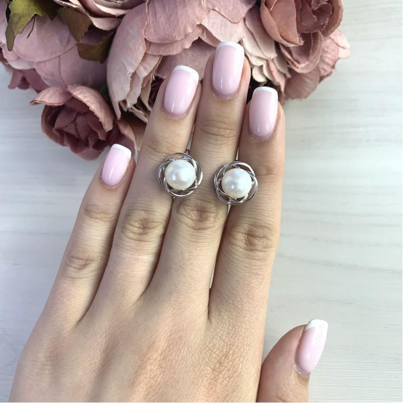 Серебряные серьги SilverBreeze с натуральным жемчугом (2044024)