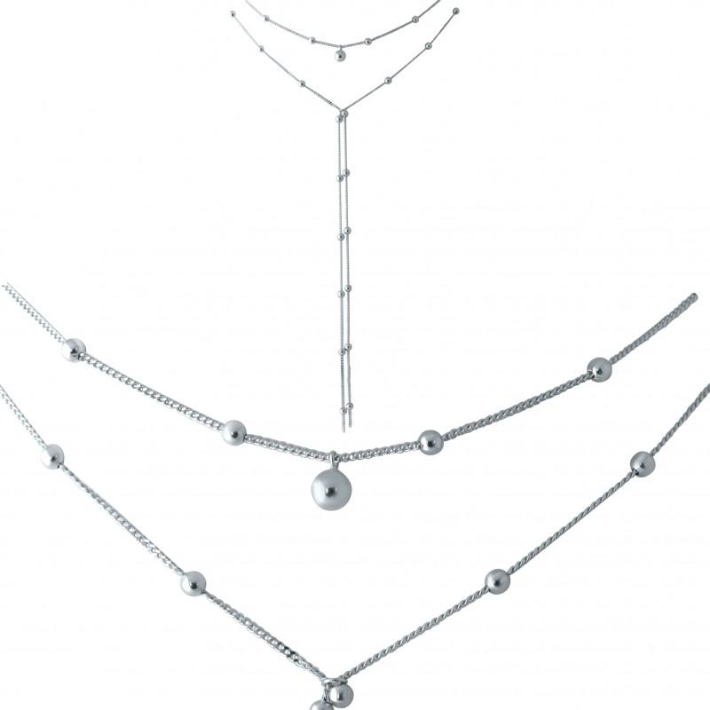 Серебряное колье SilverBreeze без камней (1952894) 500 размер