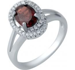 Серебряное кольцо SilverBreeze с натуральным гранатом (2044741) 17 размер