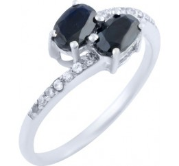 Серебряное кольцо SilverBreeze с натуральным сапфиром (0763477) 16.5 размер