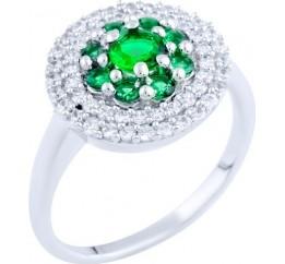 Серебряное кольцо SilverBreeze с изумрудом nano (0799117) 18 размер