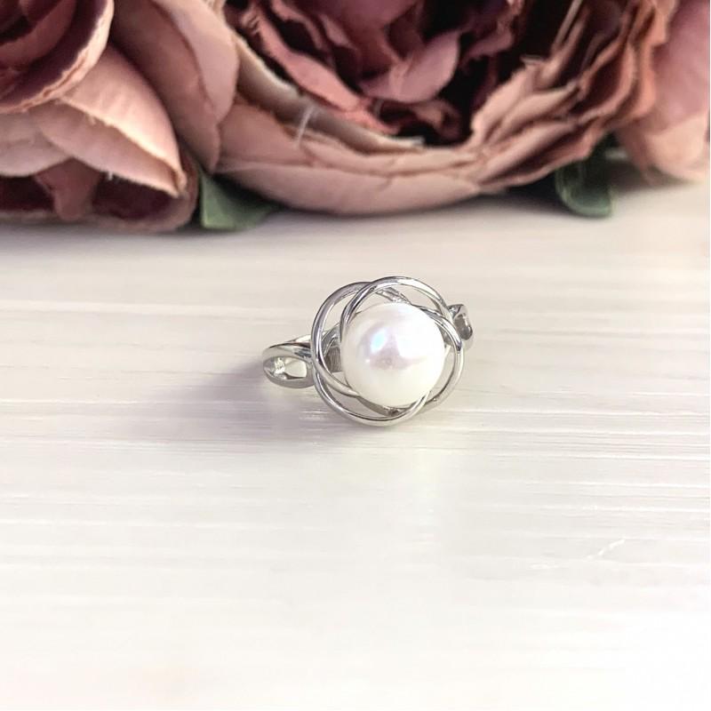 Серебряное кольцо SilverBreeze с натуральным жемчугом (2044017) 17.5 размер