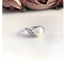Серебряное кольцо SilverBreeze с натуральным жемчугом (2044031) 18 размер
