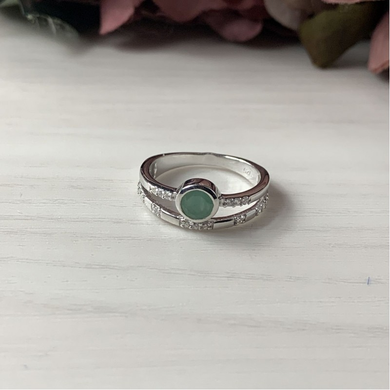 Серебряное кольцо SilverBreeze с натуральным изумрудом (2042365) 16.5 размер
