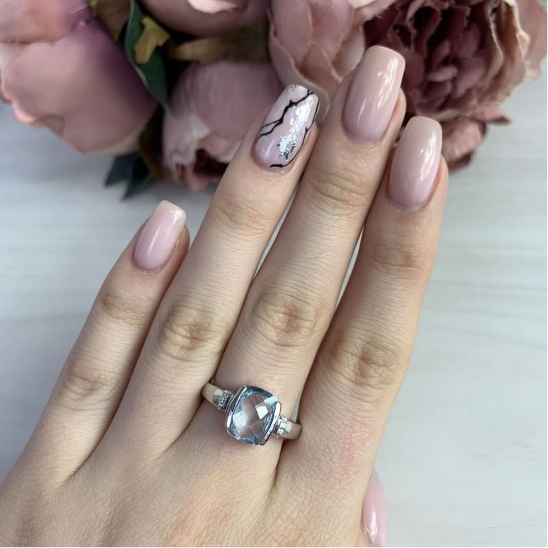 Серебряное кольцо SilverBreeze с натуральным топазом (2042624) 17 размер