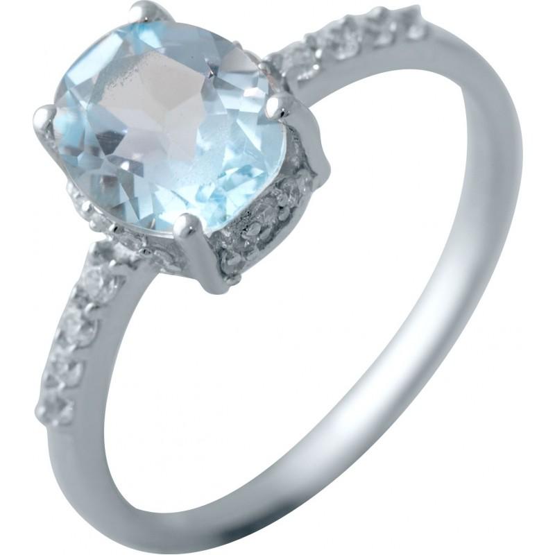 Серебряное кольцо SilverBreeze с натуральным топазом (2042808) 17 размер