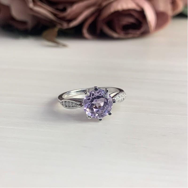 Серебряное кольцо SilverBreeze с натуральным аметистом (2043027) 17 размер