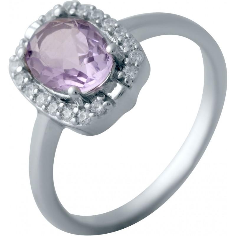 Серебряное кольцо SilverBreeze с натуральным аметистом (2043041) 17 размер