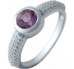 Серебряное кольцо SilverBreeze с натуральным аметистом (2043188) 17.5 размер
