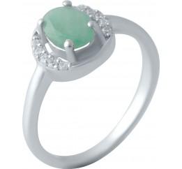 Серебряное кольцо SilverBreeze с натуральным изумрудом (2043423) 18 размер
