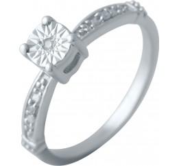 Серебряное кольцо SilverBreeze с натуральными бриллиантом (2043652) 18 размер