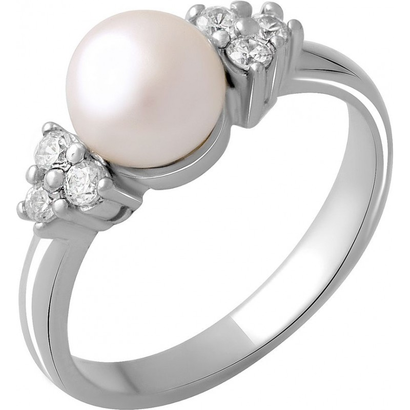 Серебряное кольцо SilverBreeze с натуральным жемчугом (2043973) 18 размер