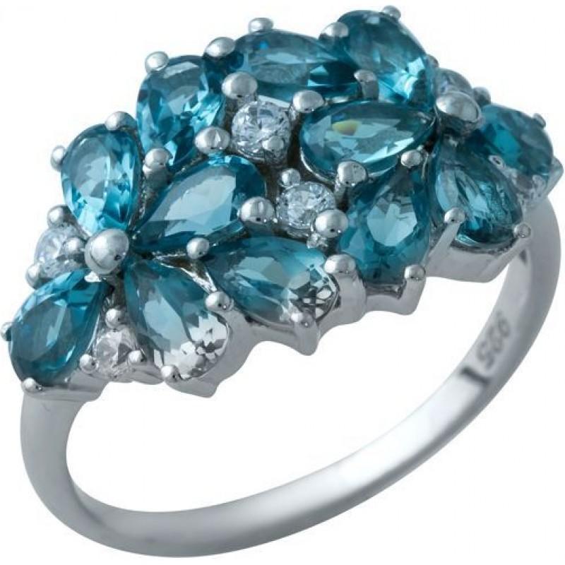 Серебряное кольцо SilverBreeze с натуральным топазом Лондон Блю (1934265) 17.5 размер