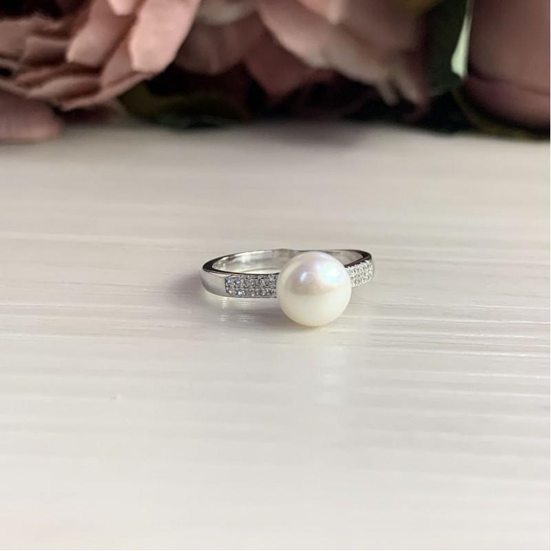 Серебряное кольцо SilverBreeze с натуральным жемчугом (2041368) 18 размер