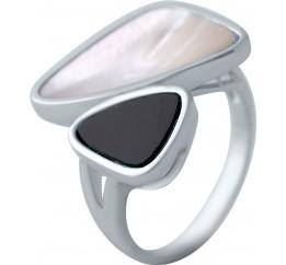 Серебряное кольцо SilverBreeze с натуральным перламутром, ониксом (2041610) 17 размер