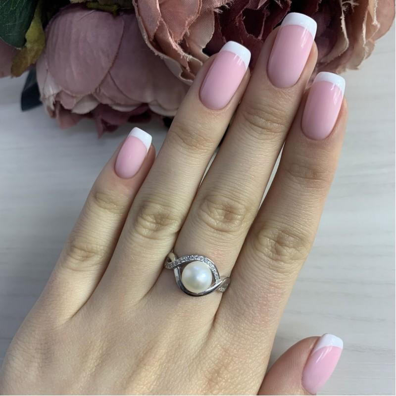 Серебряное кольцо SilverBreeze с натуральным жемчугом (2035510) 16 размер