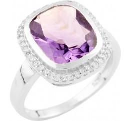 Серебряное кольцо SilverBreeze с натуральным аметистом (1537558) 17.5 размер