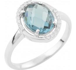 Серебряное кольцо SilverBreeze с натуральным топазом Лондон Блю (1634264) 18 размер