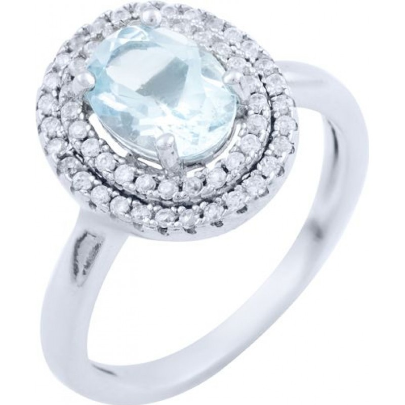 Серебряное кольцо SilverBreeze с натуральным топазом (1718988) 17 размер
