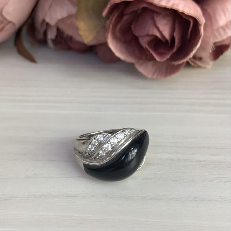 Серебряное кольцо SilverBreeze с натуральным ониксом (1727164)