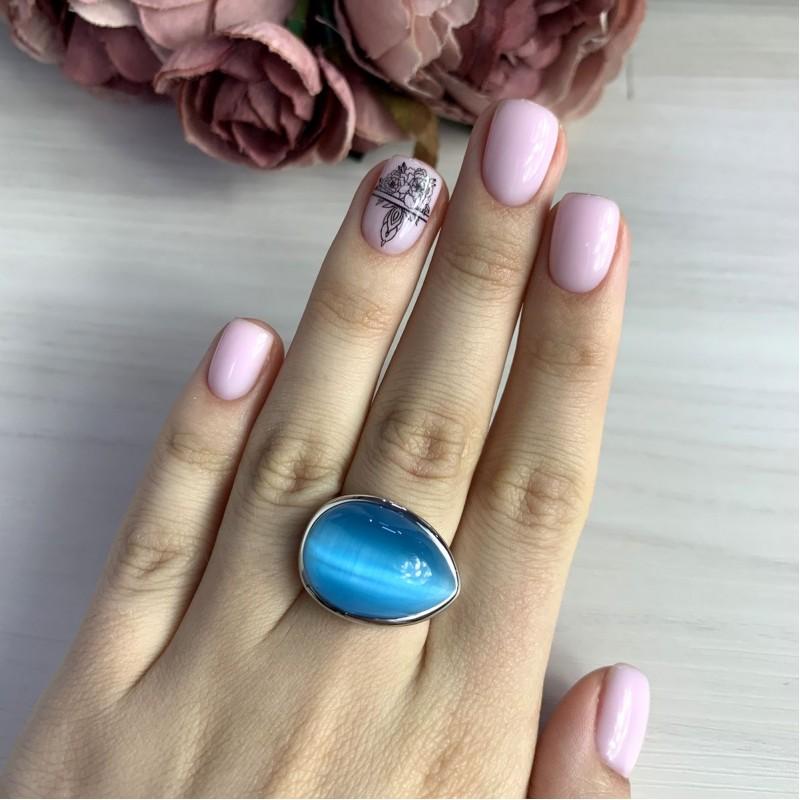 Серебряное кольцо SilverBreeze с кошачим глазом (2006671) 17 размер