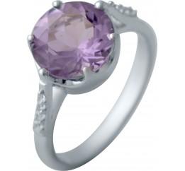 Серебряное кольцо SilverBreeze с натуральным аметистом (1141069) 18 размер