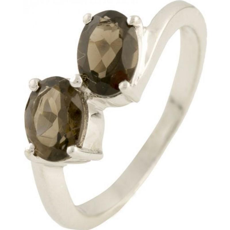 Серебряное кольцо SilverBreeze с натуральным раухтопазом (димчатим кварцем) (1186985) 17.5 размер