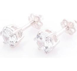Серебряные серьги-гвоздики с фианитами 6мм SKL13-131533