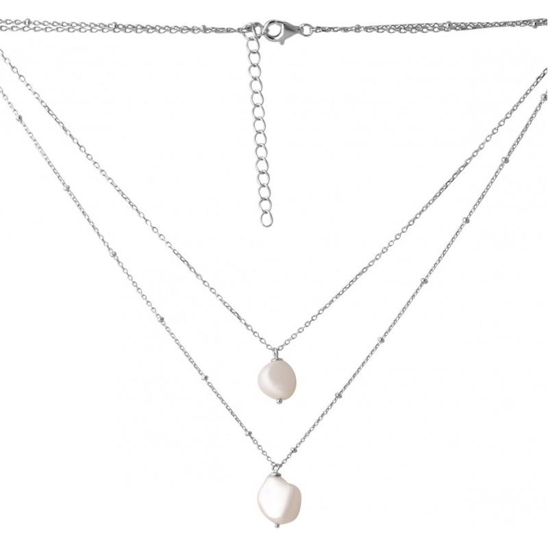 Серебряное колье SilverBreeze с натуральным жемчугом барочным 33.967ct (2068969) 400450 размер