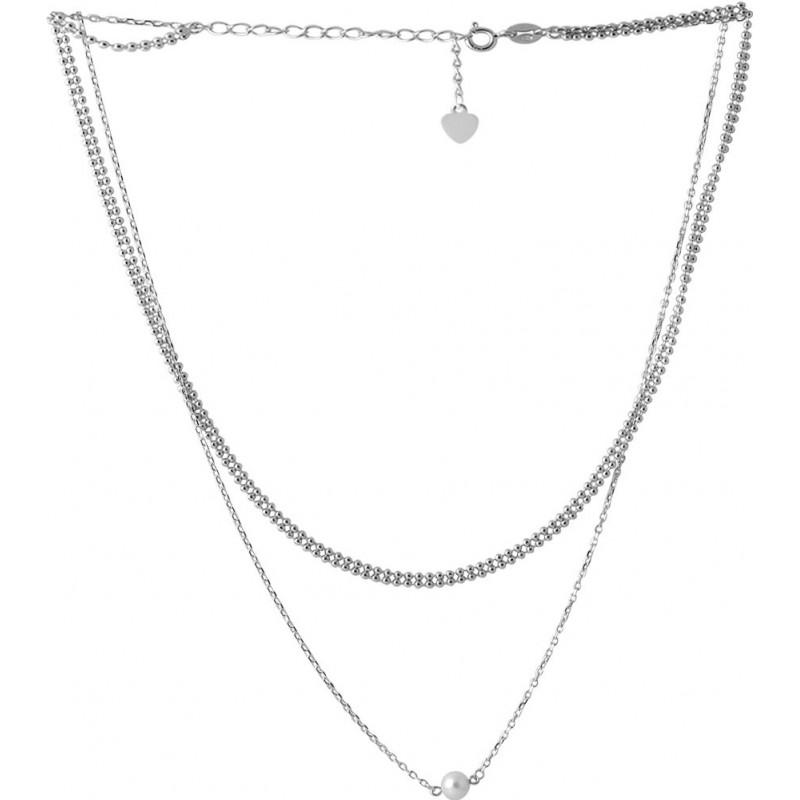 Серебряное колье SilverBreeze с натуральным жемчугом (2066804) 400450 размер