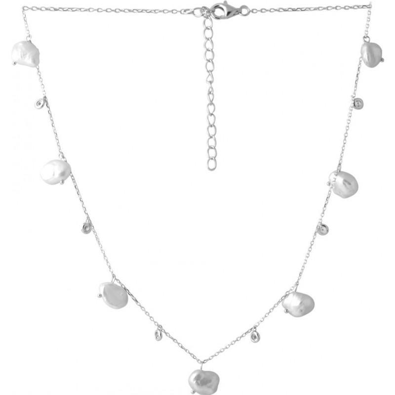 Серебряное колье SilverBreeze с натуральным жемчугом барочным 56.286ct (2041948) 450500 размер